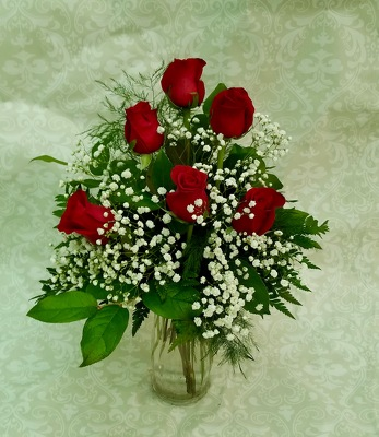 Half Dozen Roses arranged from Wren's Florist in Bellefontaine, Ohio